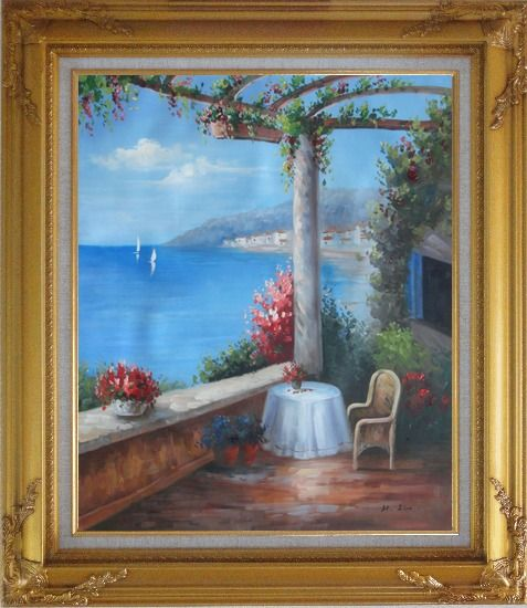 Framed Mediterranean Flower Patio, Table, Chair, Seaview Oil Painting Naturalism Gold Wood Frame with Deco Corners 31 x 27 Inches
