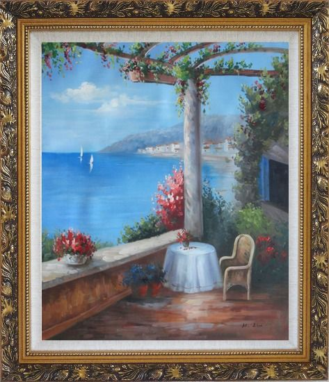Framed Mediterranean Flower Patio, Table, Chair, Seaview Oil Painting Naturalism Ornate Antique Dark Gold Wood Frame 30 x 26 Inches