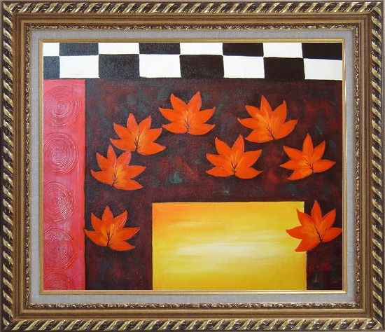 Framed Maple Leaf, Abstract Autumn Scene Oil Painting Flower Modern Exquisite Gold Wood Frame 26 x 30 Inches