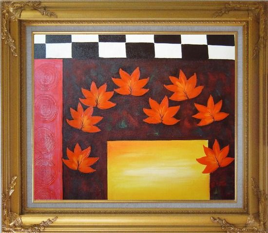 Framed Maple Leaf, Abstract Autumn Scene Oil Painting Flower Modern Gold Wood Frame with Deco Corners 27 x 31 Inches