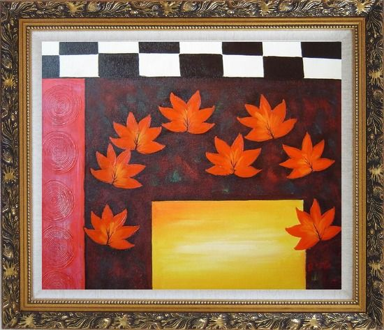 Framed Maple Leaf, Abstract Autumn Scene Oil Painting Flower Modern Ornate Antique Dark Gold Wood Frame 26 x 30 Inches