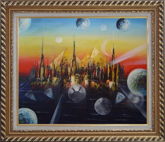 Framed Metropolitan Oil Painting Cityscape Modern Exquisite Gold Wood Frame 26 x 30 Inches