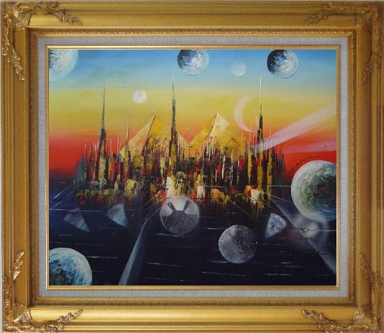 Framed Metropolitan Oil Painting Cityscape Modern Gold Wood Frame with Deco Corners 27 x 31 Inches