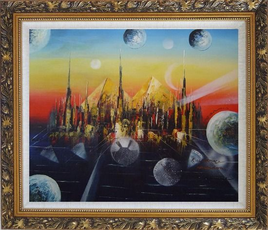Framed Metropolitan Oil Painting Cityscape Modern Ornate Antique Dark Gold Wood Frame 26 x 30 Inches