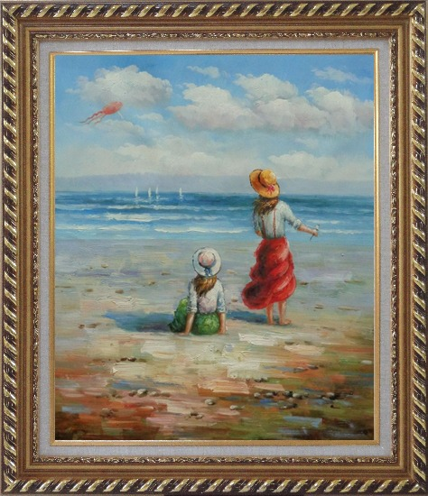 Framed Two Girls Flying Kite Joyfully On Beach Oil Painting Portraits Child Impressionism Exquisite Gold Wood Frame 30 x 26 Inches