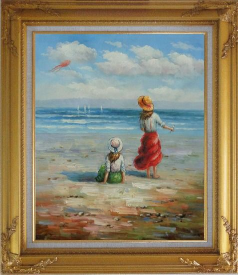 Framed Two Girls Flying Kite Joyfully On Beach Oil Painting Portraits Child Impressionism Gold Wood Frame with Deco Corners 31 x 27 Inches