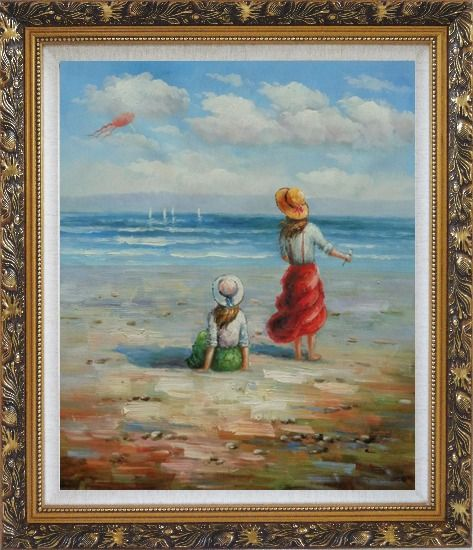 Framed Two Girls Flying Kite Joyfully On Beach Oil Painting Portraits Child Impressionism Ornate Antique Dark Gold Wood Frame 30 x 26 Inches