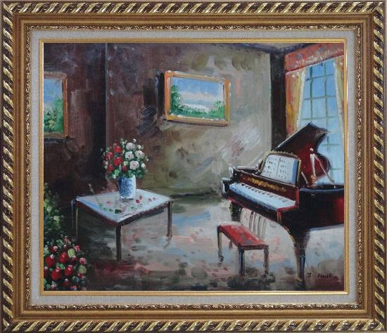 Framed Age-Old Room with Piano, Flowers, And Wall Art Oil Painting Cityscape Impressionism Exquisite Gold Wood Frame 26 x 30 Inches