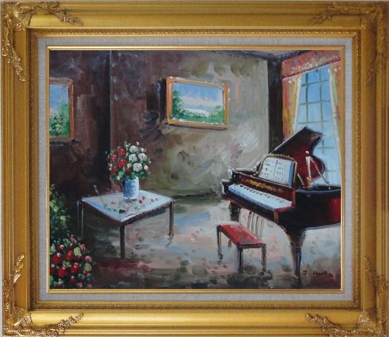 Framed Age-Old Room with Piano, Flowers, And Wall Art Oil Painting Cityscape Impressionism Gold Wood Frame with Deco Corners 27 x 31 Inches