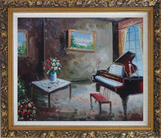 Framed Age-Old Room with Piano, Flowers, And Wall Art Oil Painting Cityscape Impressionism Ornate Antique Dark Gold Wood Frame 26 x 30 Inches