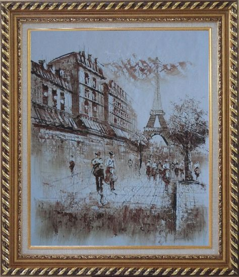 Framed Romantic Eiffel Tower Of Paris Oil Painting Cityscape France Impressionism Exquisite Gold Wood Frame 30 x 26 Inches