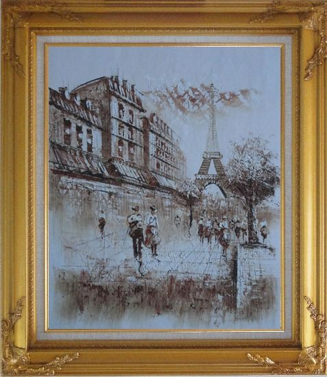 Framed Romantic Eiffel Tower Of Paris Oil Painting Cityscape France Impressionism Gold Wood Frame with Deco Corners 31 x 27 Inches