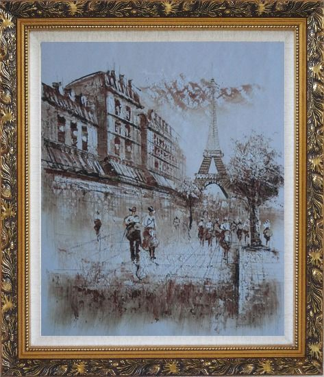 Framed Romantic Eiffel Tower Of Paris Oil Painting Cityscape France Impressionism Ornate Antique Dark Gold Wood Frame 30 x 26 Inches