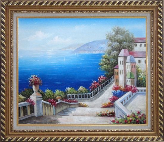 Framed Favorite Mediterranean Garden Steps Oil Painting Impressionism Exquisite Gold Wood Frame 26 x 30 Inches