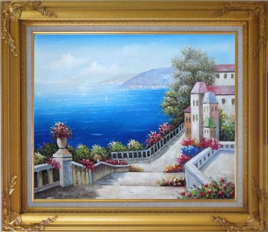 Framed Favorite Mediterranean Garden Steps Oil Painting Impressionism Gold Wood Frame with Deco Corners 27 x 31 Inches