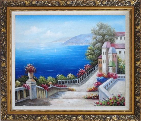 Framed Favorite Mediterranean Garden Steps Oil Painting Impressionism Ornate Antique Dark Gold Wood Frame 26 x 30 Inches