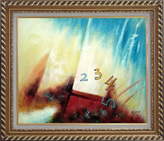 Framed Numbers Oil Painting Nonobjective Modern Exquisite Gold Wood Frame 26 x 30 Inches