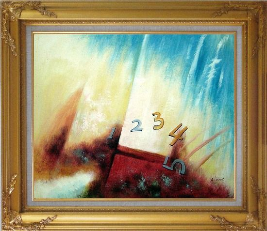 Framed Numbers Oil Painting Nonobjective Modern Gold Wood Frame with Deco Corners 27 x 31 Inches