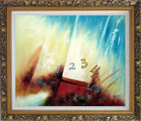 Framed Numbers Oil Painting Nonobjective Modern Ornate Antique Dark Gold Wood Frame 26 x 30 Inches