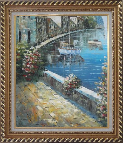 Framed Boats and Houses On Waterfront With Flowers and Sideway Oil Painting Mediterranean Impressionism Exquisite Gold Wood Frame 30 x 26 Inches