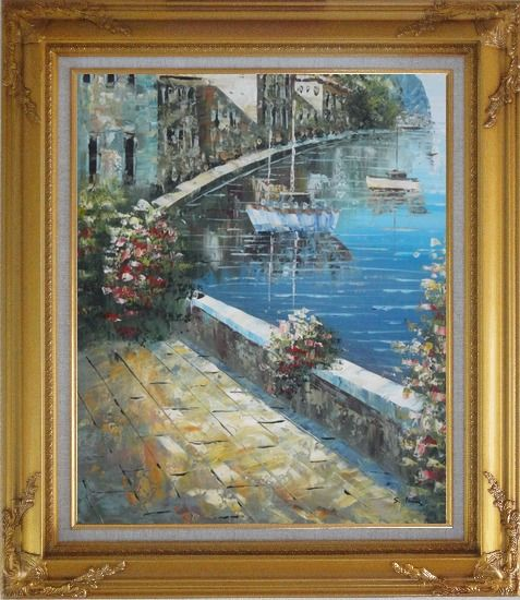 Framed Boats and Houses On Waterfront With Flowers and Sideway Oil Painting Mediterranean Impressionism Gold Wood Frame with Deco Corners 31 x 27 Inches