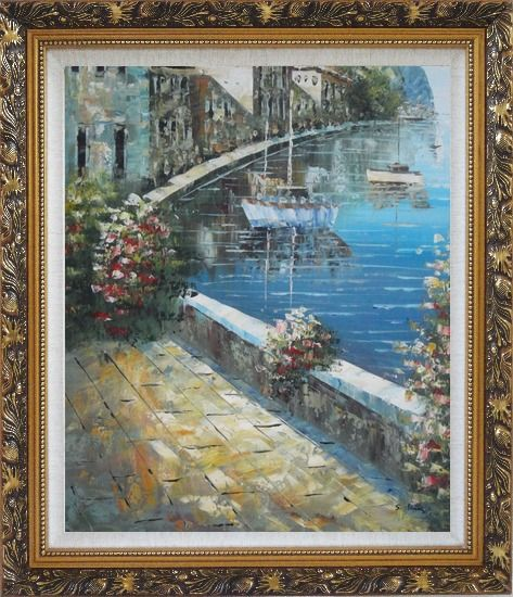 Framed Boats and Houses On Waterfront With Flowers and Sideway Oil Painting Mediterranean Impressionism Ornate Antique Dark Gold Wood Frame 30 x 26 Inches