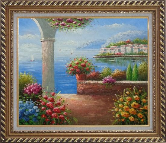 Framed Paradise By Mediterranean Sea Oil Painting Naturalism Exquisite Gold Wood Frame 26 x 30 Inches