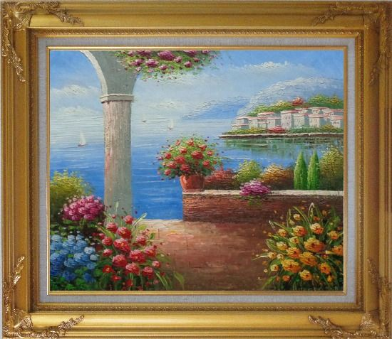Framed Paradise By Mediterranean Sea Oil Painting Naturalism Gold Wood Frame with Deco Corners 27 x 31 Inches