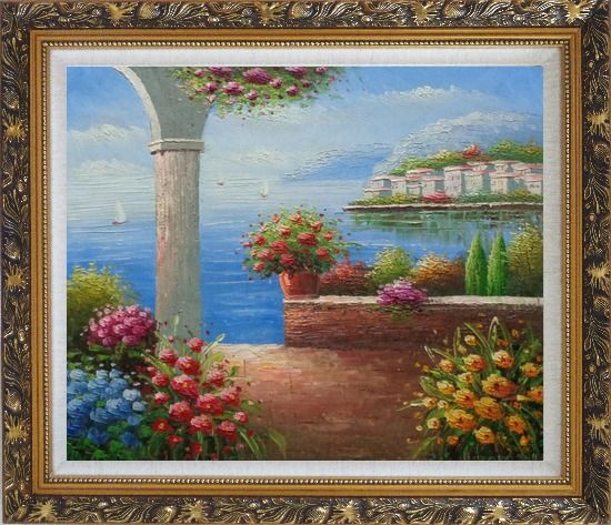 Framed Paradise By Mediterranean Sea Oil Painting Naturalism Ornate Antique Dark Gold Wood Frame 26 x 30 Inches