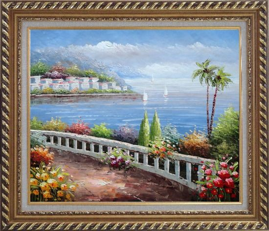 Framed Beautiful Mediterranean Seaside Walk with Flowers Oil Painting Naturalism Exquisite Gold Wood Frame 26 x 30 Inches
