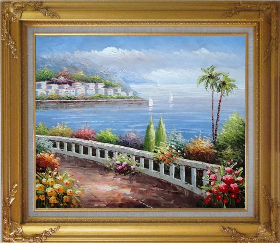 Framed Beautiful Mediterranean Seaside Walk with Flowers Oil Painting Naturalism Gold Wood Frame with Deco Corners 27 x 31 Inches
