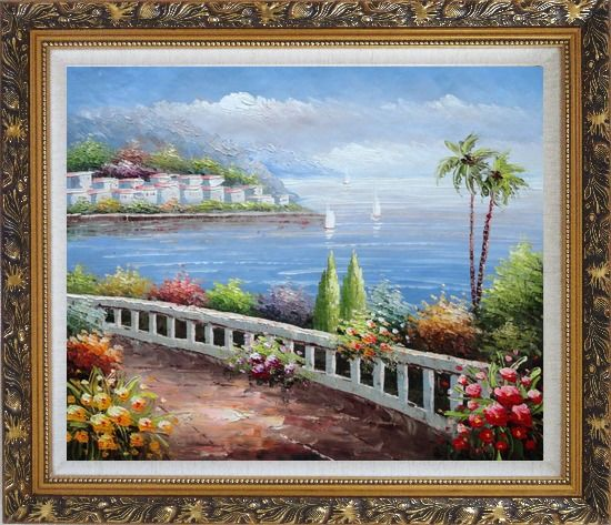 Framed Beautiful Mediterranean Seaside Walk with Flowers Oil Painting Naturalism Ornate Antique Dark Gold Wood Frame 26 x 30 Inches