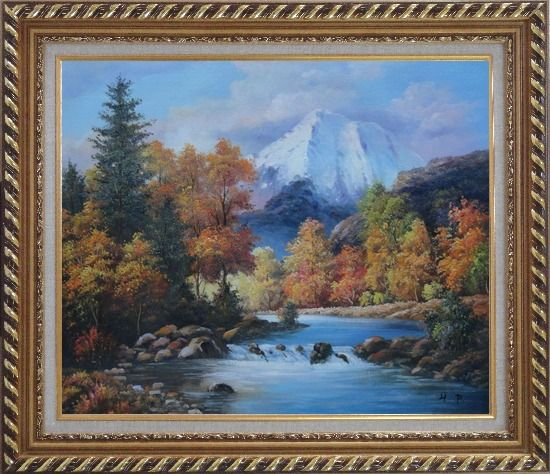 Framed Beautiful Landscape with River, Autumn Tree and Snow Mountain Oil Painting Naturalism Exquisite Gold Wood Frame 26 x 30 Inches