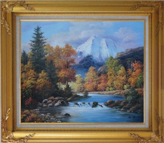Framed Beautiful Landscape with River, Autumn Tree and Snow Mountain Oil Painting Naturalism Gold Wood Frame with Deco Corners 27 x 31 Inches