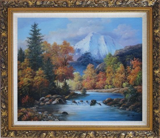 Framed Beautiful Landscape with River, Autumn Tree and Snow Mountain Oil Painting Naturalism Ornate Antique Dark Gold Wood Frame 26 x 30 Inches