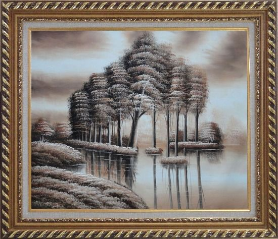 Framed Trees and Reflections in a Light Brown Landscape Oil Painting Decorative Exquisite Gold Wood Frame 26 x 30 Inches