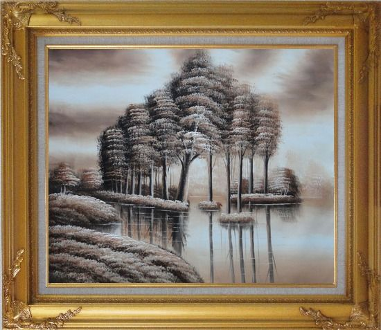 Framed Trees and Reflections in a Light Brown Landscape Oil Painting Decorative Gold Wood Frame with Deco Corners 27 x 31 Inches