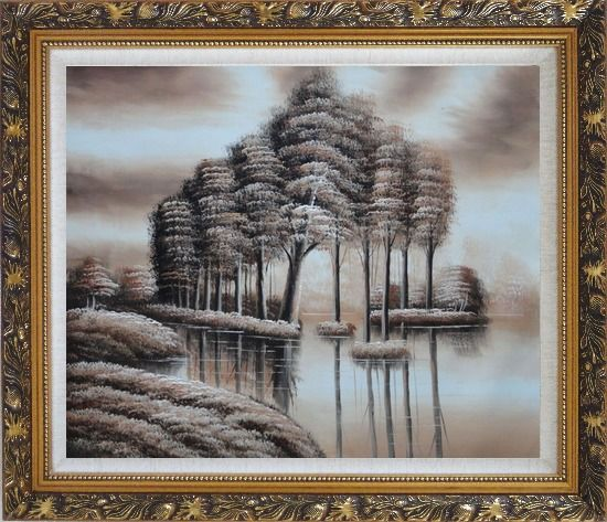Framed Trees and Reflections in a Light Brown Landscape Oil Painting Decorative Ornate Antique Dark Gold Wood Frame 26 x 30 Inches