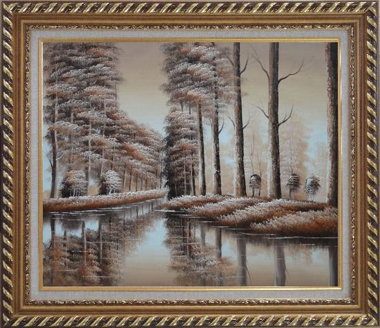 Framed Two Rows of Trees and Reflections Along River Oil Painting Landscape Decorative Exquisite Gold Wood Frame 26 x 30 Inches