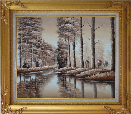 Framed Two Rows of Trees and Reflections Along River Oil Painting Landscape Decorative Gold Wood Frame with Deco Corners 27 x 31 Inches