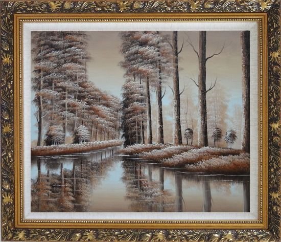 Framed Two Rows of Trees and Reflections Along River Oil Painting Landscape Decorative Ornate Antique Dark Gold Wood Frame 26 x 30 Inches