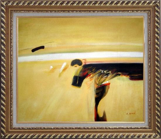 Framed Dark Splash on Sand Oil Painting Nonobjective Modern Exquisite Gold Wood Frame 26 x 30 Inches