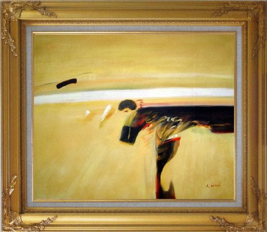 Framed Dark Splash on Sand Oil Painting Nonobjective Modern Gold Wood Frame with Deco Corners 27 x 31 Inches