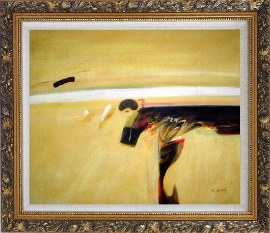 Framed Dark Splash on Sand Oil Painting Nonobjective Modern Ornate Antique Dark Gold Wood Frame 26 x 30 Inches