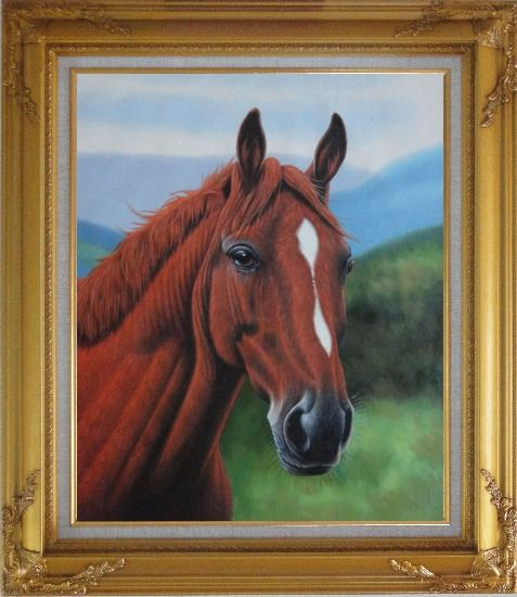 Framed The Beauty of Red-Brown Horse Head Oil Painting Animal Naturalism Gold Wood Frame with Deco Corners 31 x 27 Inches