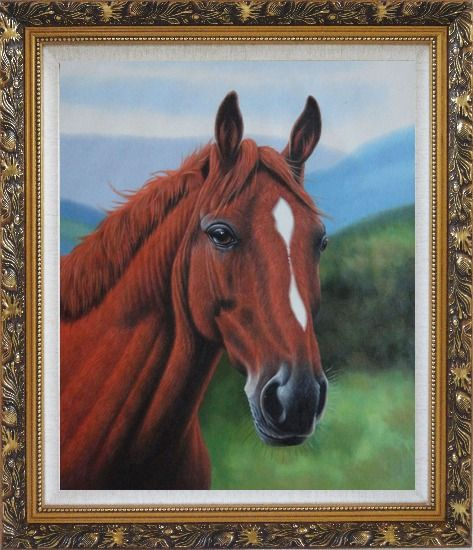 Framed The Beauty of Red-Brown Horse Head Oil Painting Animal Naturalism Ornate Antique Dark Gold Wood Frame 30 x 26 Inches