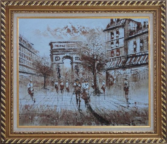 Framed Tourists Enjoy Themselves Near Arc de Triomphe At Dusk In Brown Oil Painting Cityscape France Impressionism Exquisite Gold Wood Frame 26 x 30 Inches
