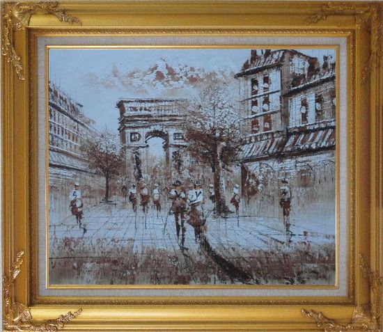 Framed Tourists Enjoy Themselves Near Arc de Triomphe At Dusk In Brown Oil Painting Cityscape France Impressionism Gold Wood Frame with Deco Corners 27 x 31 Inches