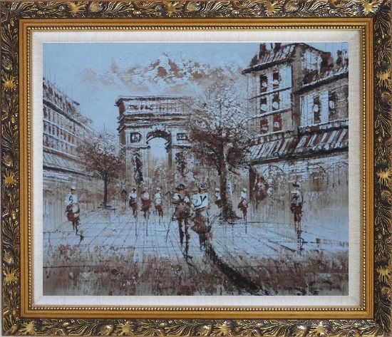 Framed Tourists Enjoy Themselves Near Arc de Triomphe At Dusk In Brown Oil Painting Cityscape France Impressionism Ornate Antique Dark Gold Wood Frame 26 x 30 Inches