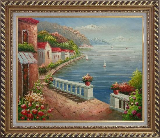 Framed Mediterranean Dream Village Oil Painting Naturalism Exquisite Gold Wood Frame 26 x 30 Inches